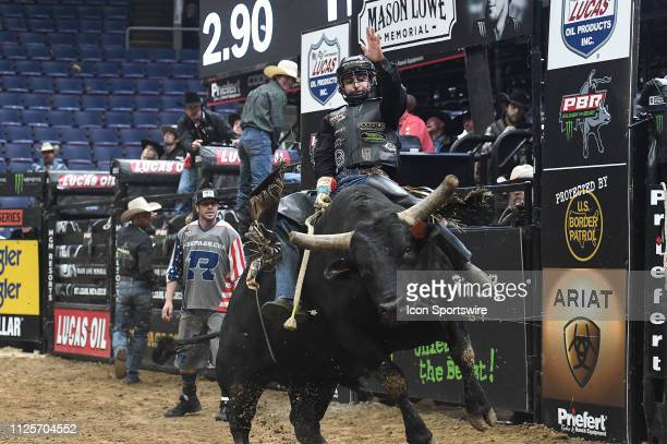Claudio Montanha Jr rides the bull Gambino during the Professional Bullriders Mason Lowe Memorial on February 16 at Enterprise Center St Louis MO