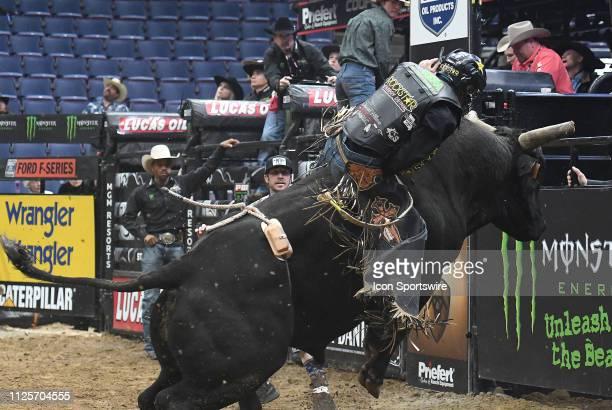 Claudio Montanha Jr rides the bull Gambino during the Professional Bullriders Mason Lowe Memorial on February 16 at Enterprise Center St Louis MO
