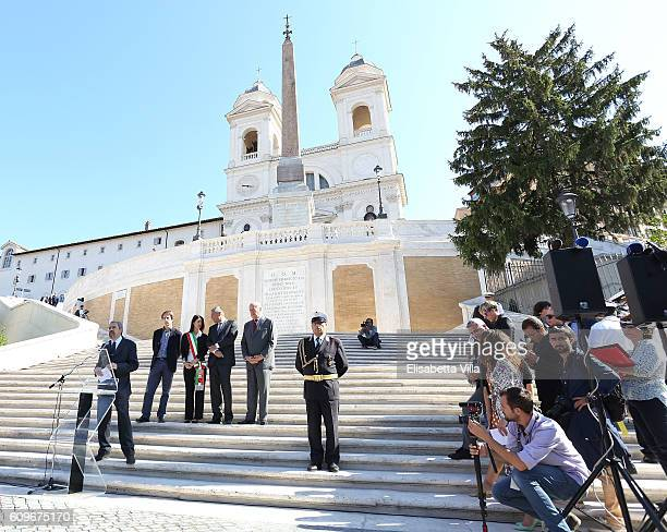 Claudio Parisi Presicce holds a speech with Luca Bergamo Rome Mayor Virginia Raggi Bvlgari CEO JeanChristophe Babin and Nicola Bulgari the Bvlgari...