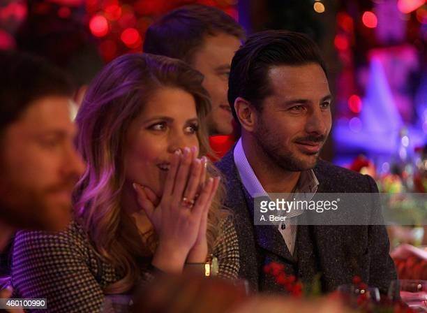Claudio Pizarro and his wife Karla Salcedo attend the FC Bayern Muenchen christmas party at Schuhbeck's Teatro restaurant on December 7 2014 in...