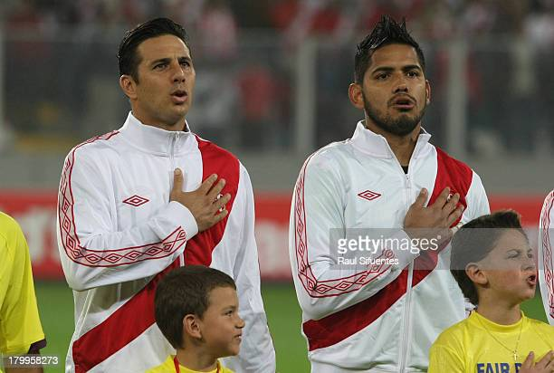 Claudio Pizarro and Raul Fernandez of Peru before a match between Peru and Uruguay as part of the 15th round of the South American Qualifiers at...