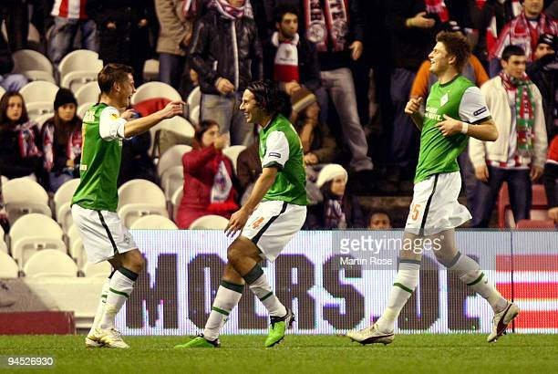 Claudio Pizarro of Bremen celebrates after he scores his team's 1st goal during the UEFA Europa League Group L match between Atletico Bilbao and...