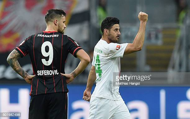 Claudio Pizarro of Bremen celebrates after scoring his team's first goal during the Bundesliga match between Eintracht Frankfurt and Werder Bremen at...