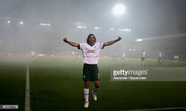Claudio Pizarro of Bremen celebrates after scoring his team's second goal during the UEFA Europa League Group L match between Austria Wien and Werder...