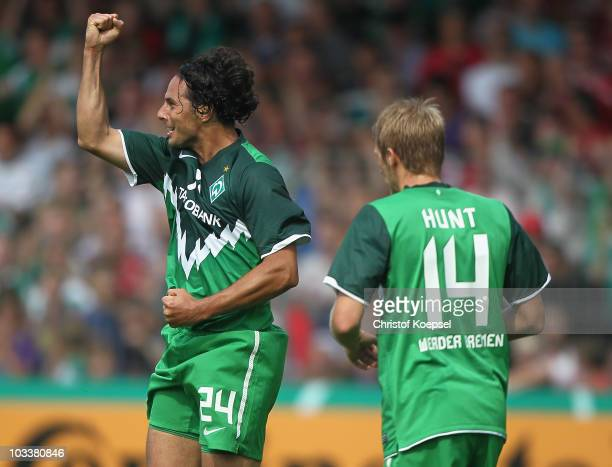Claudio Pizarro of Bremen celebrates his first goal during the DFB Cup first round match between Rot Weiss Ahlen and SV Werder Bremen at Werse...