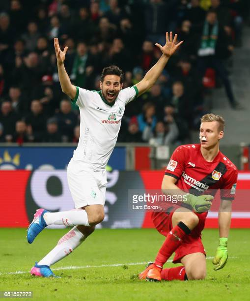 Claudio Pizarro of Bremen celebrates his team's first goal next to goalkeeper Bernd Leno of Leverkusen during the Bundesliga match between Bayer 04...