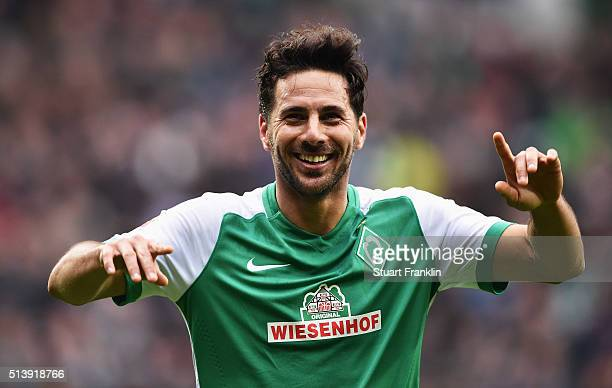 Claudio Pizarro of Bremen celebrates scoring his goal during the Bundesliga match between Werder Bremen and Hannover 96 at Weserstadion on March 5...