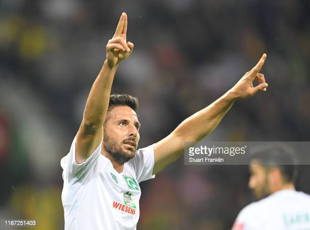 Claudio Pizarro of Bremen celebrates scoring the sixth goal during the DFB Cup first round match between Atlas Delmenhorst and SV Werder Bremen at...