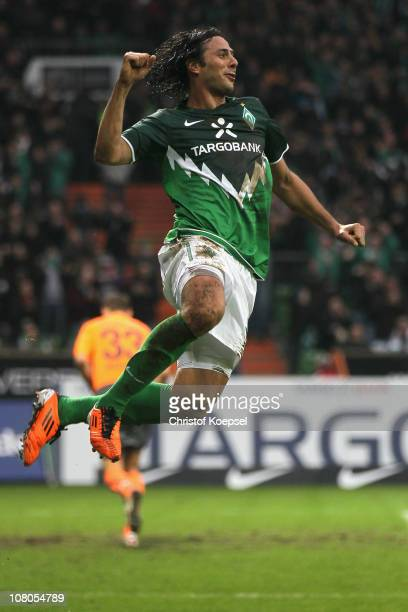Claudio Pizarro of Bremen celebrates the first goal during the Bundesliga match between SV Werder Bremen and 1899 Hoffenheim at Weser Stadium on...
