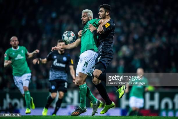 Claudio Pizarro of Bremen in action against Ozan Kabak of Schalke during the Bundesliga match between SV Werder Bremen and FC Schalke 04 at...