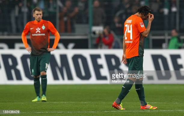 Claudio Pizarro of Bremen looks dejcted during the Bundesliga match between Borussia Moenchengladbach and SV Werder Bremen at Borussia Park on...