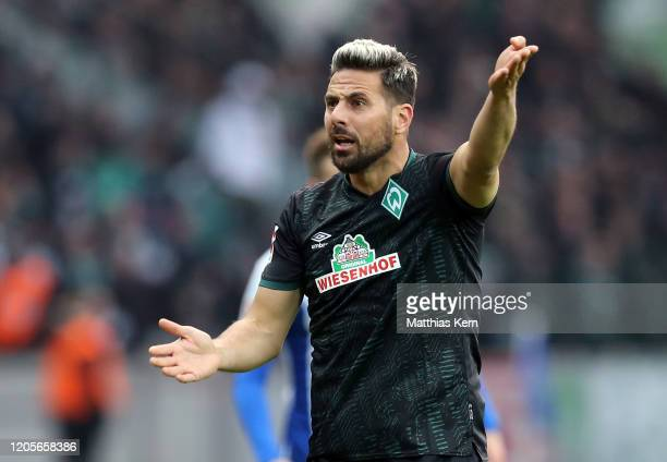 Claudio Pizarro of Bremen reacts during the Bundesliga match between Hertha BSC and SV Werder Bremen at Olympiastadion on March 7, 2020 in Berlin,...