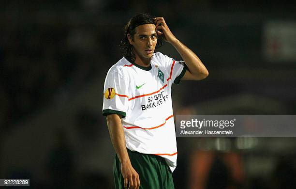Claudio Pizarro of Bremen reacts during the UEFA Europa League Group L match between Austria Wien and Werder Bremen at the Franz-Horr-Stadion on on...