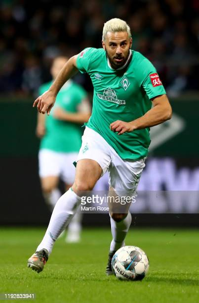 Claudio Pizarro of Bremen runs with the ball during the Bundesliga match between SV Werder Bremen and SC Paderborn 07 at Wohninvest Weserstadion on...