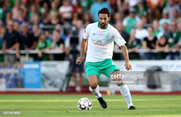 Claudio Pizarro of Bremen runs with the ball during the Pre Season Friendly Match between VVV Venlo and Werder Bremen at HeinzDettmerStadion Lohne on...