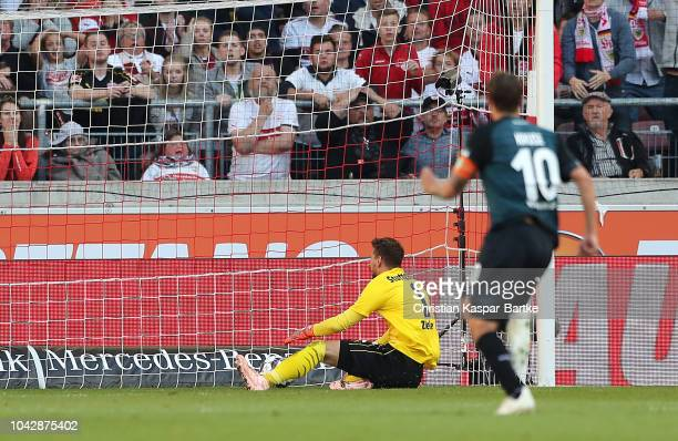 Claudio Pizarro of Bremen scores the first goal for Bremen during the Bundesliga match between VfB Stuttgart and SV Werder Bremen at MercedesBenz...