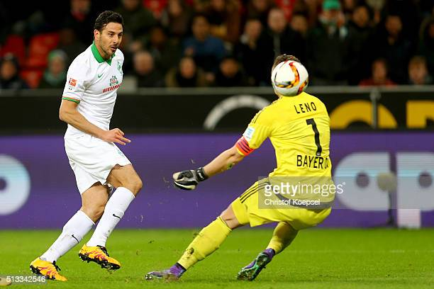 Claudio Pizarro of Bremen scores the second goal against Bernd Leno of Leverkusen during the Bundesliga match between Bayer Leverkusen and Werder...