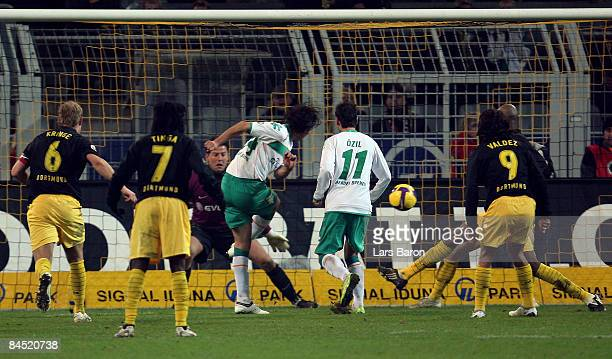 Claudio Pizarro of bremen scores the third goal during the round of 16 DFB Cup match between Borussia Dortmund and SV Werder Bremen on January 28...