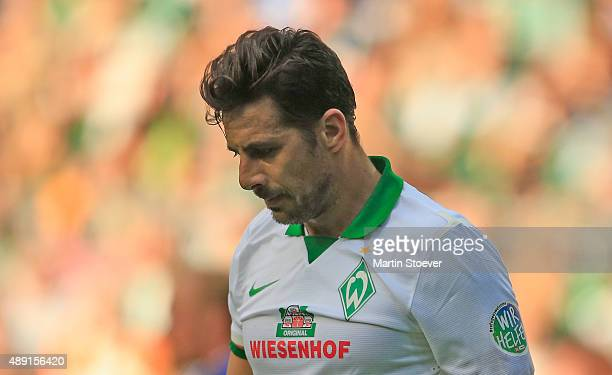 Claudio Pizarro of Bremen with Logo 'Refugees Welcome' during the Bundesliga match between Werder Bremen and FC Ingolstadt at Weserstadion on...