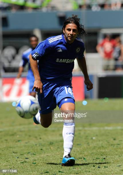 Claudio Pizarro of Chelsea in action during a pre season friendly between Seattle Sounders and Chelsea at Qwest Field on July 18, 2009 in Seattle,...