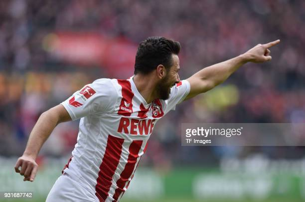 Claudio Pizarro of Koeln celebrates after scoring his team`s first goal during the Bundesliga match between 1 FC Koeln and VfB Stuttgart at...