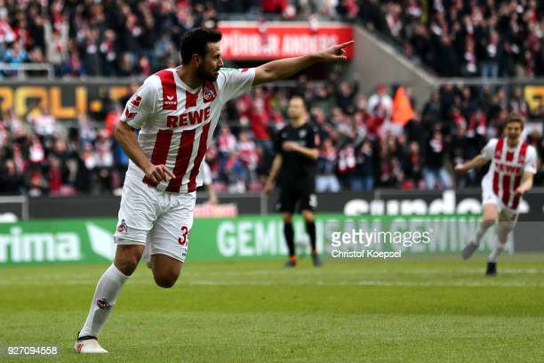 Claudio Pizarro of Koeln celebrates the first goal during the Bundesliga match between 1 FC Koeln and VfB Stuttgart at RheinEnergieStadion on March 4...