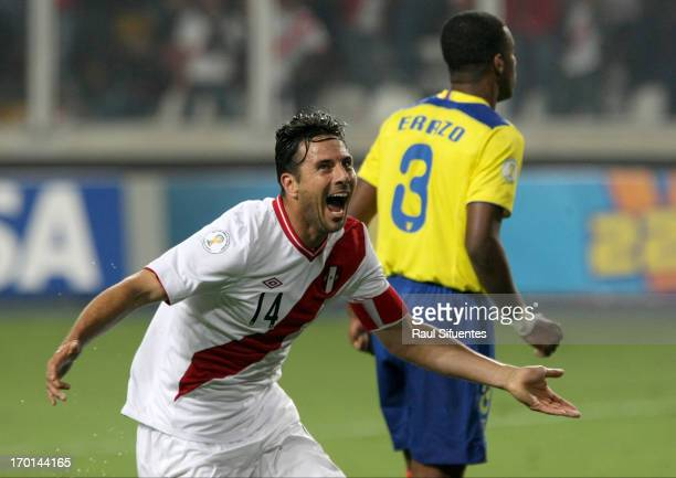 Claudio Pizarro of Peru celebrates a goal during a match between Peru and Ecuador as part of the 13th round of the South American Qualifiers for the...