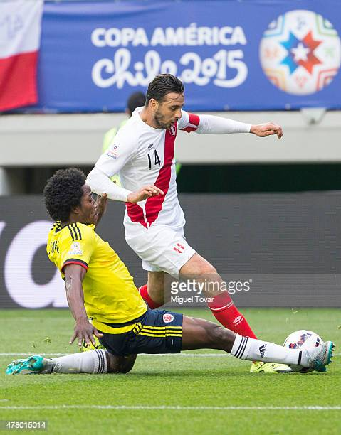 Claudio Pizarro of Peru fights for the ball with Carlos Sanchez of Colombia during the 2015 Copa America Chile Group C match between Colombia and...