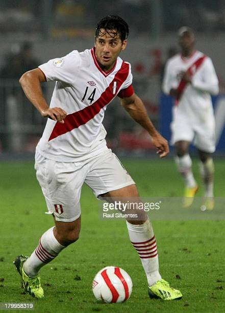 Claudio Pizarro of Peru in action during a match between Peru and Uruguay as part of the 15th round of the South American Qualifiers at Nacional...