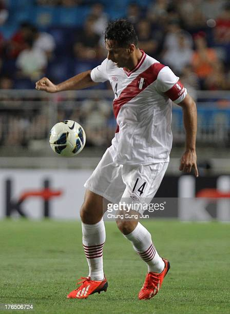 Claudio Pizarro of Peru in action during the international friendly match between South Korea and Peru at Suwon World Cup Stadium on August 14 2013...