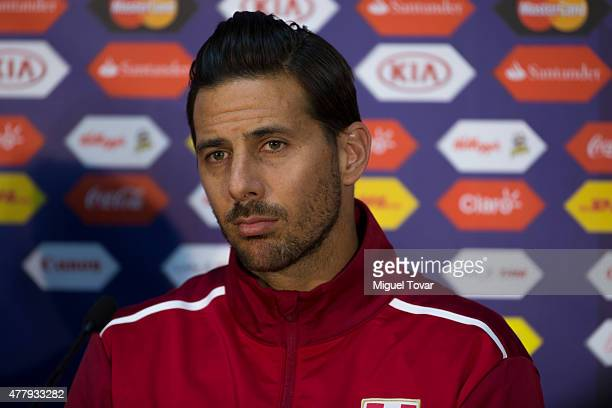Claudio Pizarro of Peru looks on during a press conference at German Becker Stadium on June 20 2015 in Temuco Chile Peru will face Colombia on June...
