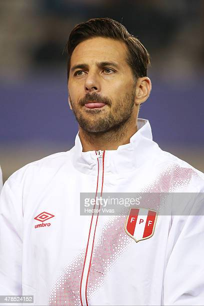 Claudio Pizarro of Peru looks on during the national anthem ceremony prior the 2015 Copa America Chile quarter final match between Peru and Bolivia...