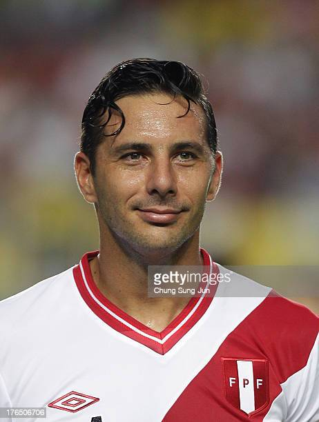 Claudio Pizarro of Peru poses during the international friendly match between South Korea and Peru at Suwon World Cup Stadium on August 14 2013 in...