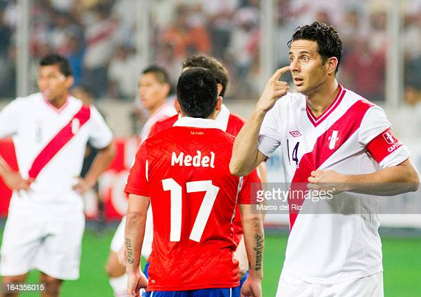 Claudio Pizarro of Peru reacts during a match between Peru and Chile as part of the 11th round of the South American Qualifiers for the FIFA World...