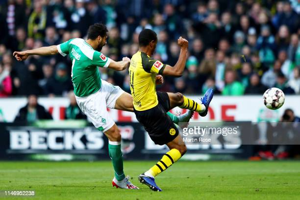 Claudio Pizarro of SV Werder Bremen scores his sides second goal during the Bundesliga match between SV Werder Bremen and Borussia Dortmund at...