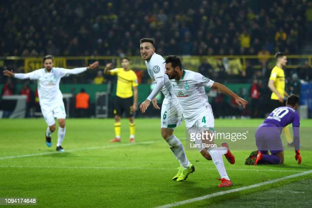 Claudio Pizarro of Werder Bremen celebrates after scoring his team's second goal during the DFB Cup match between Borussia Dortmund and Werder Bremen...