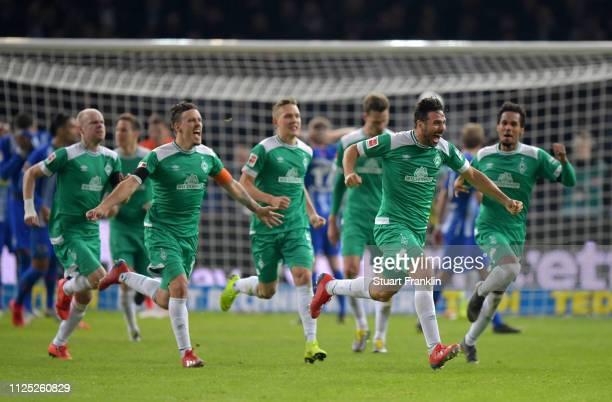 Claudio Pizarro of Werder Bremen celebrates after scoring his team's first goal during the Bundesliga match between Hertha BSC and SV Werder Bremen...