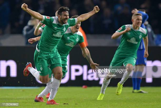 Claudio Pizarro of Werder Bremen celebrates after scoring his team's first goal during the Bundesliga match between Hertha BSC and SV Werder Bremen...
