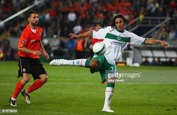 Claudio Pizarro of Werder Bremen has a shot at goal during the UEFA Cup Final between Shakhtar Donetsk and Werder Bremen at the Sukru Saracoglu...