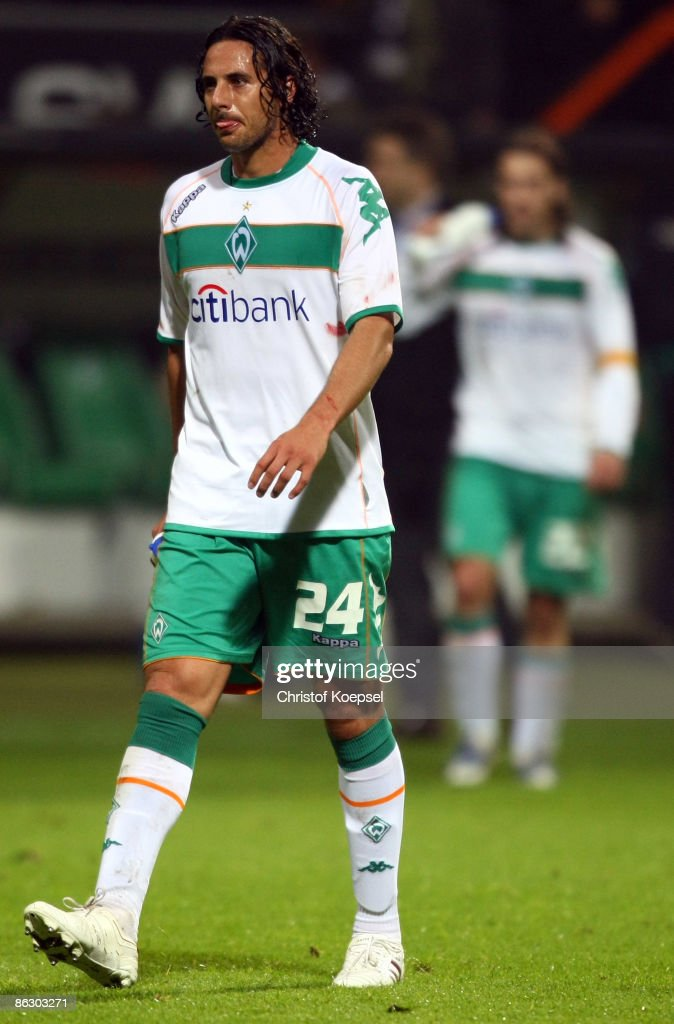 Claudio Pizarro of Werder Bremen looks dejected after losing 0-1 the UEFA Cup Semi Final first leg match between SV Werder Bremen and Hamburger SV at the Weser stadium on April 30, 2009 in Bremen, Germany.