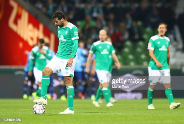 Claudio Pizarro of Werder Bremen looks dejected as Bayer 04 Leverkusen score their sixth goal during the Bundesliga match between SV Werder Bremen...