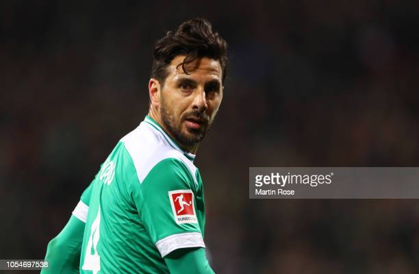 Claudio Pizarro of Werder Bremen looks on during the Bundesliga match between SV Werder Bremen and Bayer 04 Leverkusen at Weserstadion on October 28...