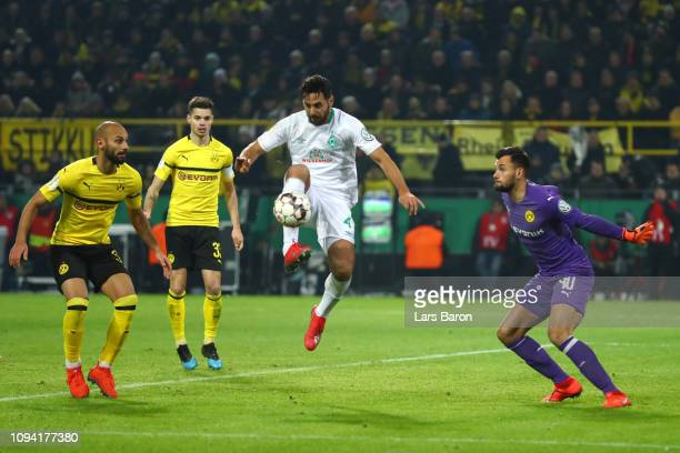 Claudio Pizarro of Werder Bremen on his way to scoring his team's second goal during the DFB Cup match between Borussia Dortmund and Werder Bremen at...