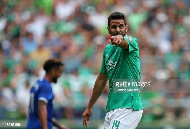 Claudio Pizarro of Werder Bremen reacts during the pre-season friendly match between SV Werder Bremen and FC Everton at Wohninvest Weserstadion on...