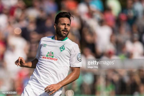 Claudio Pizarro of Werder Bremen reacts during Wormatia Worms and Werder Bremen DFB Cup first round match on August 18 2018 in Worms Germany