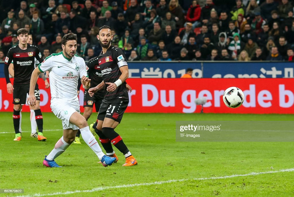 Claudio Pizarro of Werder Bremen scores a goal during the Bundesliga soccer match between Bayer Leverkusen and Werder Bremen at the BayArena stadium in Leverkusen, Germany on March 10, 2017.