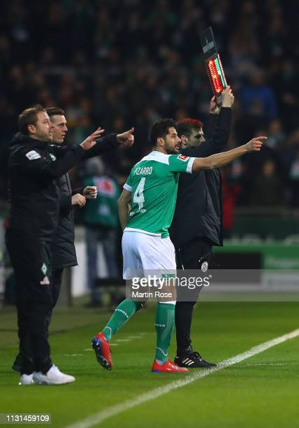 Claudio Pizarro of Werner Bremen comes onto the pitch as a substitution during the Bundesliga match between SV Werder Bremen and VfB Stuttgart at...