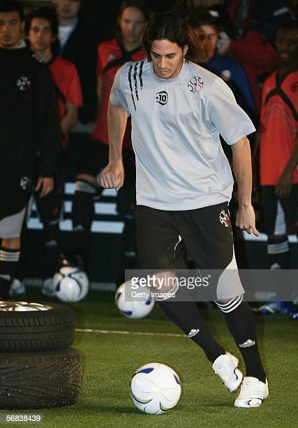 Claudio Pizarro play the ball during the Major adidias F50 Tunit Launch Event on February 13 2006 in Munich Germany