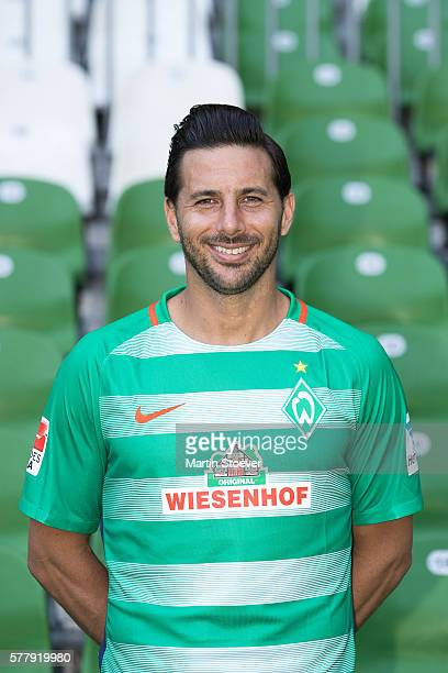 Claudio Pizarro poses during the offical team presentation of Werder Bremen on July 20 2016 in Bremen Germany