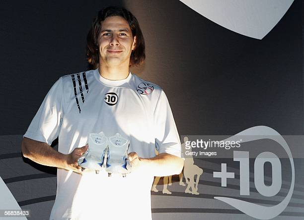 Claudio Pizarro presents his new shoes during the Major adidias F50 Tunit Launch Event on February 13 2006 in Munich Germany
